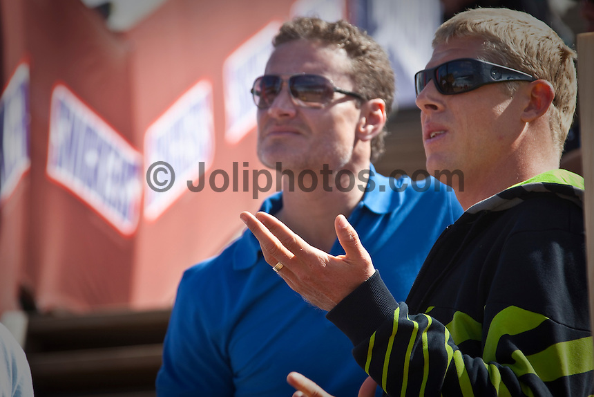 "Former Scottish Formula One driver David Coulthard with World Surfing Champion Mick Fanning (AUS)     BELLS BEACH, Victoria/Australia (Tuesday, March 30, 2010) - The opening two rounds of the Rip Curl Women's Pro presented by Ford Fiesta were completed today in punchy two-to-three foot (1 metre) waves breaking through the ""Rincon"" section of the point at Bells Beach..The second stop on the 2010 ASP Women's World Tour, the Rip Curl Women's Pro Bells Beach plays a vital role in surfers setting their respective seasons up as they track down re-qualification points and the all-important ASP Women's World Title..Chelsea Hedges (AUS), 26, former ASP Women's World Champion (2005), was the form surfer of the day, lighting up the lumpy afternoon right-handers with precision and speed on her backhand, collecting the day's high heat total of a 17.20 out of a possible 20. Photo: joliphotos.com"