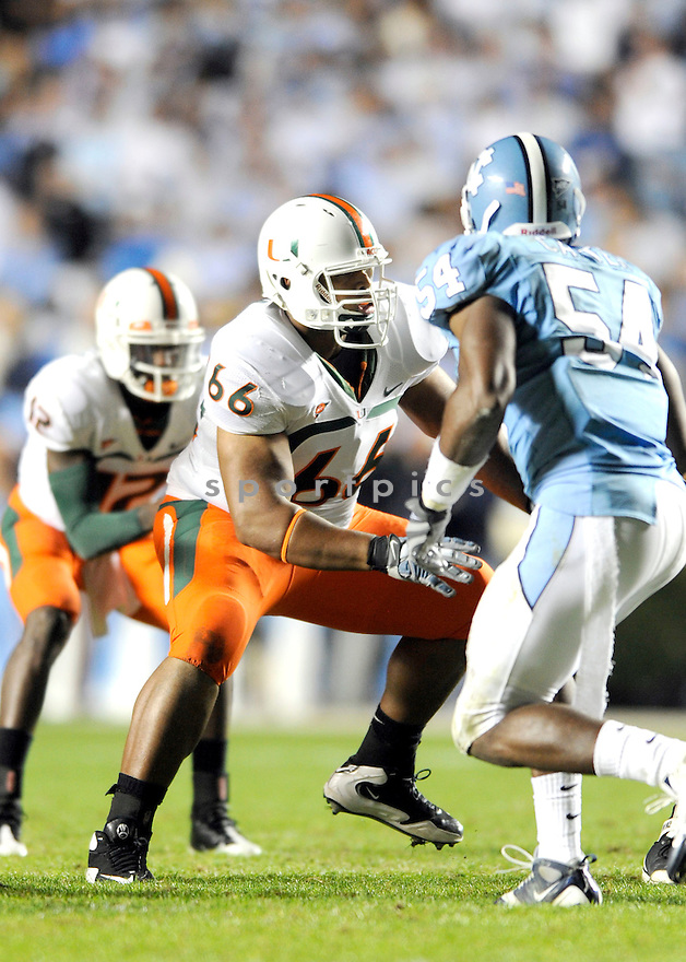 HARLAND GUNN, of the Miami Hurricanes, in action during the Hurricanes game against the North Carolina Tarheels on November 14, 2009 in Chapel Hill, NC. North Carolina won 33-24.