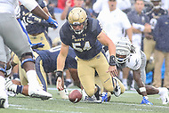 Annapolis, MD - September 8, 2018: Navy Midshipmen linebacker Taylor Heflin (54) recovers the ball during the game between Memphis and Navy at  Navy-Marine Corps Memorial Stadium in Annapolis, MD.   (Photo by Elliott Brown/Media Images International)