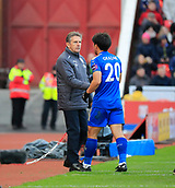 4th November 2017, bet365 Stadium, Stoke-on-Trent, England; EPL Premier League football, Stoke City versus Leicester City; Leicester City manager Claude Puel congratulates Shinji Okazaki on his performance when he is substituted