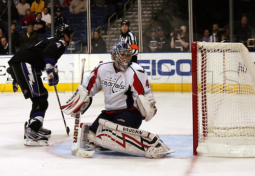 07 DEC 2009:  Washington's goalie Semyon Varlamov (40) watches the puck shot by the Lightning's Vinny Lecavalier (4) go wide during the NHL regular season game between the Washington Capitals and the Tampa Bay Lightning at the St. Pete Times Forum in Tampa, FL. Photo by Cliff Welch/Actionplus. UK Licenses Only