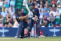 Joe Denly of Kent is bowled out by Simon Harmer as James Foster looks on from behind the stumps during Kent Spitfires vs Essex Eagles, NatWest T20 Blast Cricket at The County Ground on 9th July 2017