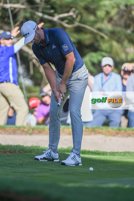 Dustin Johnson (USA) watches his putt on 7 during round 1 of the World Golf Championships, Mexico, Club De Golf Chapultepec, Mexico City, Mexico. 2/21/2019.<br /> Picture: Golffile | Ken Murray<br /> <br /> <br /> All photo usage must carry mandatory copyright credit (© Golffile | Ken Murray)