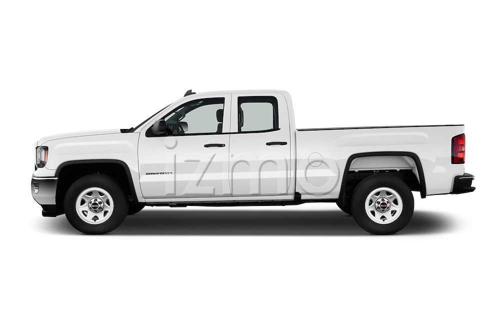 Car Driver side profile view of a 2017 GMC Sierra-1500 Double-Cab 4 Door Pickup Side View
