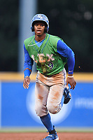 Center fielder Khalil Lee (9) of the Lexington Legends runs toward third base in a game against the Greenville Drive on Friday, June 30, 2017, at Fluor Field at the West End in Greenville, South Carolina. Lexington won, 17-7. (Tom Priddy/Four Seam Images)