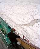 FINLAND, Kemi, Arctic, elevated view of a man standing onboard the ice breaker Sampo in Kemi.