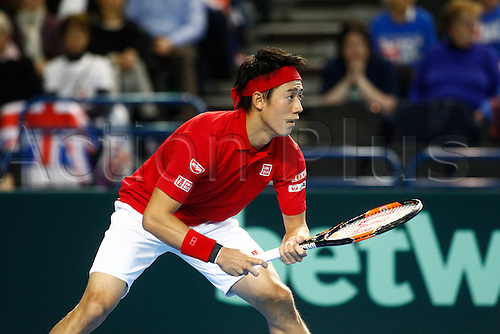 04.03.2016. Barclaycard Arena, Birmingham, England. Davis Cup Tennis World Group First Round. Great Britain versus Japan. Kei Nishikori waits to return serve in his match against Dan Evans.