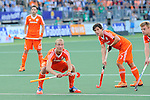 The Hague, Netherlands, June 06: Players of The Netherlands prepare for a penalty corner during the field hockey group match (Men - Group B) between Germany and The Netherlands on June 6, 2014 during the World Cup 2014 at Kyocera Stadium in The Hague, Netherlands. Final score 0-1 (0-1) (Photo by Dirk Markgraf / www.265-images.com) *** Local caption *** (L-R) Billy Bakker #8 of The Netherlands, Wouter Jolie #7 of The Netherlands