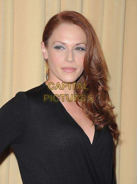 Amanda Righetti .Forevermark and In Style 'A Promise of Beauty and Brilliance' held at The Beverly Hills Hotel in Beverly Hills, California, USA..January 10th, 2012.headshot portrait black.CAP/RKE/DVS.©DVS/RockinExposures/Capital Pictures.