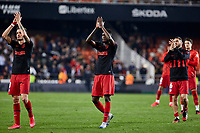 14th February 2020; Mestalla, Valencia, Spain; La Liga Football,Valencia versus Atletico Madrid; Atletico Madrid players applaud their fans at the end of the game