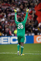 Bill Hamid (28) of D.C. United celebrates after the game at RFK Stadium in Washington, DC.  D.C. United defeated Real Salt Lake, 1-0.