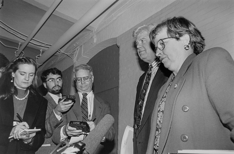 Reporters interview House Ethics Committee Ranking Member and Chairman, Rep. Jim McDermott, D-Wash., and Rep. Nancy Johnson, R-Conn., after Ethics Committee meeting on Feb. 09, 1995. (Photo by Maureen Keating/CQ Roll Call via Getty Images)