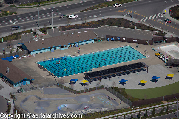 aerial photograph Petaluma Swim Center, Petaluma California