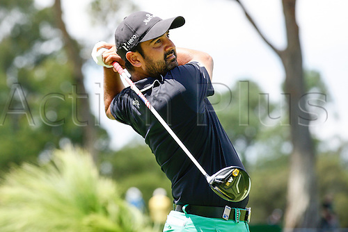 28.02.2016. Perth, Australia. ISPS HANDA Perth International Golf. Shiv Kapur (IND) Tees off for the second time after hitting his first one out of bounds at the 6th during his final round.