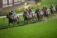 HAPPY VALLEY,WAN CHAI,HONG KONG-APRIL 26: Horses are running at 1 st turn at Happy Valley Racecourse on April 26,2017 in Happy Valley,Wan Chai,Hong Kong (Photo by Kaz Ishida/Eclipse Sportswire/Getty Images)