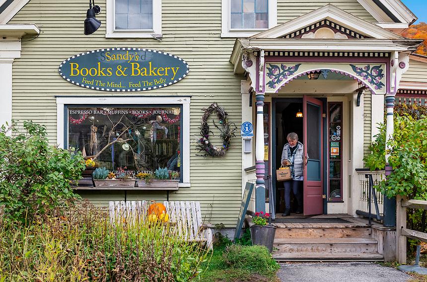 Charming standalone bookstore, Rochester, Vermont, USA.