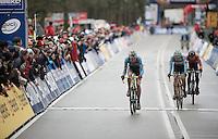Yannick Peeters (BEL), Jelle Schuermans (BEL) & joris Nieuwenhuis (NLD) going into their last lap<br /> <br /> 2014 UCI cyclo-cross World Championships