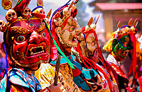 Asia, Buthan, Paro Dzong, Tshechu festival, young dancer with traditional masks