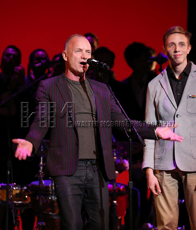 Sting and Vlad performing at 'Uprising Of Love: A Benefit Concert For Global Equality' at the Gershwin Theatre on September 15, 2014 in New York City.