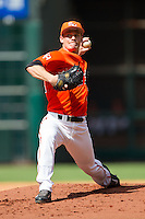 Sam Houston State Bearkats starting pitcher Andrew Godail #14 delivers a pitch to the plate against the Texas Tech Red Raiders at Minute Maid Park on March 1, 2014 in Houston, Texas.  The Bearkats defeated the Red Raiders 10-6.  (Brian Westerholt/Four Seam Images)