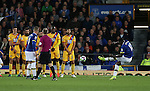Romelu Lukaku of Everton scores the first goal from a free kick during the Premier League match at Goodison Park Stadium, Liverpool. Picture date: September 30th, 2016. Pic Simon Bellis/Sportimage