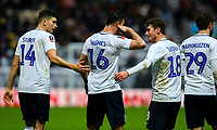 Preston North End's Andrew Hughes celebrates scoring his side's first goal with Jordan Storey, Tom Barkhuizen and Ryan Ledson<br /> <br /> Photographer Alex Dodd/CameraSport<br /> <br /> The Emirates FA Cup Third Round - Preston North End v Doncaster Rovers - Sunday 6th January 2019 - Deepdale Stadium - Preston<br />  <br /> World Copyright &copy; 2019 CameraSport. All rights reserved. 43 Linden Ave. Countesthorpe. Leicester. England. LE8 5PG - Tel: +44 (0) 116 277 4147 - admin@camerasport.com - www.camerasport.com