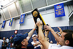 24 MAY 2016:  The Virginia men's team hoists the championship trophy overhead after defeating Oklahoma. The Division I Men's Tennis Championship is held at the Michael D. Case Tennis Center on the University of Tulsa campus in Tulsa, OK.  Virginia defeated Oklahoma for the national championship. Shane Bevel/NCAA Photos