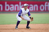 Winston-Salem Dash third baseman Brady Conlan (9) on defense against the Potomac Nationals at BB&T Ballpark on August 6, 2017 in Winston-Salem, North Carolina.  The Nationals defeated the Dash 4-3 in 10 innings.  (Brian Westerholt/Four Seam Images)