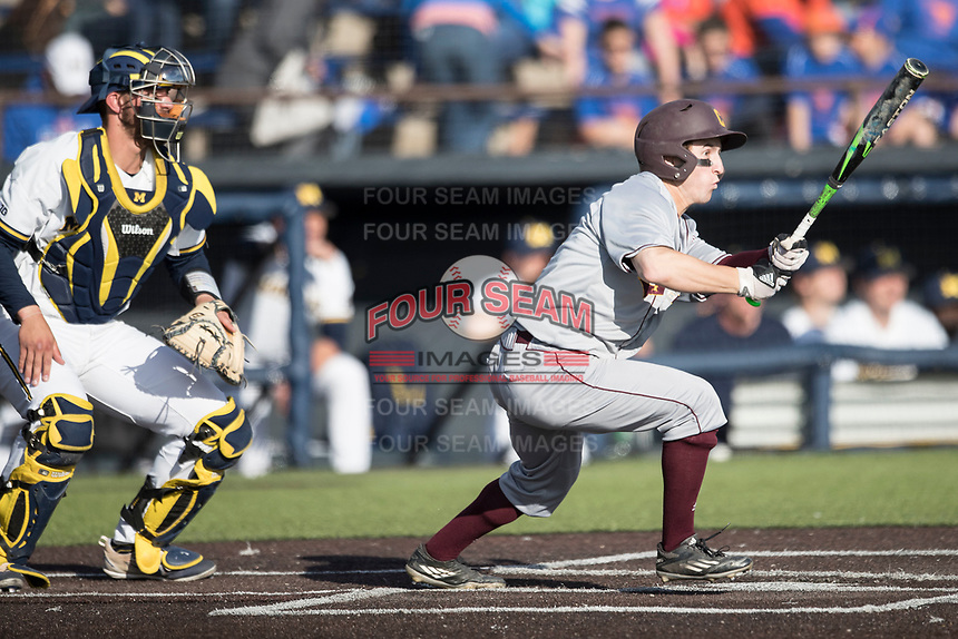 Central Michigan Chippewas outfielder Zach Gilles (5) follows through on his swing against the Michigan Wolverines on May 9, 2017 at Ray Fisher Stadium in Ann Arbor, Michigan. Michigan defeated Central Michigan 4-2. (Andrew Woolley/Four Seam Images)