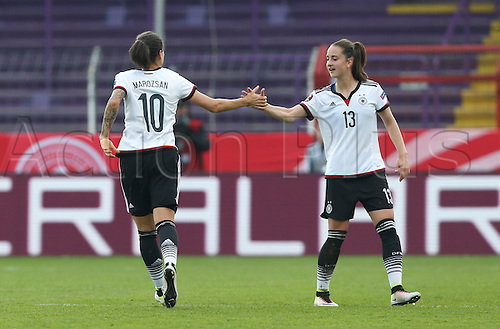 12.04.2016. Osnabruck, Germany.  Dzsenifer Marozsan of Germany (L) celebrates her goal with Sara Daebritz during the women's European Championships qualifying soccer match between Germany and Croatia in the osnatel Arena