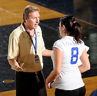 20 November 2008:  New Orleans Volleyball Head Coach Jozsef Forman speaks with Dobrilla Kovacevic (8) during a time out in the New Orleans 3-1 victory over UALR in the first round of the Sun Belt Conference Championship tournament at FIU Stadium in Miami, Florida.