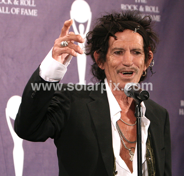 **ALL ROUND PICTURES FROM SOLARPIX.COM**.**SYNDICATION RIGHTS FOR UK, SPAIN, POTUGAL, AUSTRALIA, S.AFRICA & DUBAI (U.A.E) ONLY**.Keith Richards - 22nd Annual Rock and Roll Hall of Fame Induction Ceremony - Waldorf Astoria - New York, NY.JOB REF: 3498  PHZ    DATE: 12/03/2007.**MUST CREDIT SOLARPIX.COM OR DOUBLE FEE WILL BE CHARGED* *UNDER NO CIRCUMSTANCES IS THIS IMAGE TO BE REPRODUCED FOR ANY ONLINE EDITION WITHOUT PRIOR PERMISSION*