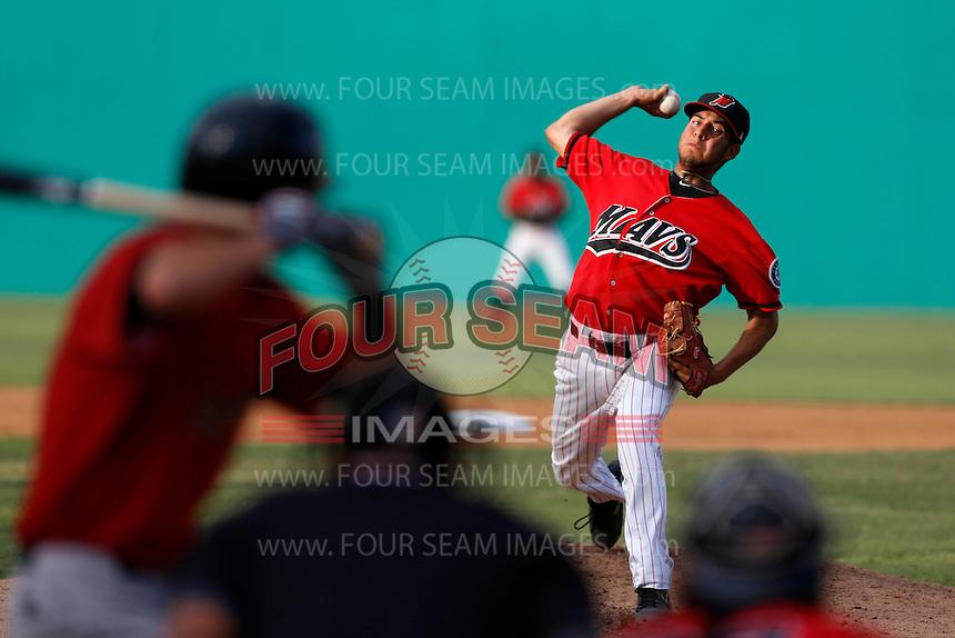 Bobby Shore #18 of the High Desert Mavericks pitches against the Visalia Rawhide at Stater Bros. Stadium on July 20, 2013 in Adelanto, California. High Desert defeated Visalia, 7-4. (Larry Goren/Four Seam Images)