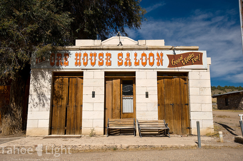 Historic building and ore house saloon in the semi-ghost town of Ione, Nevada