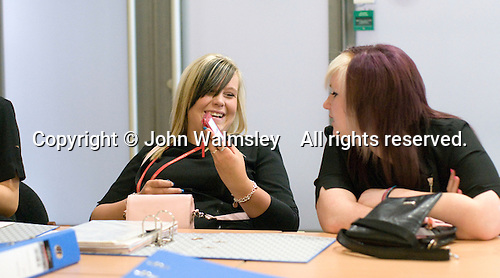 Students having a laugh in the Arena Salon, Hair & Beauty Dept., Kingston College.