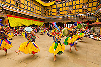 Dance of the Drum from Dramitse, Paro Tsechu (festival), Paro Dzong, Paro, Bhutan
