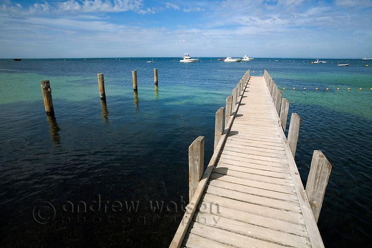 Wooden jetty at Thomson Bay.  Rottnest Island, Western Australia, AUSTRALIA.