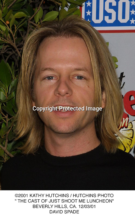 "©2001 KATHY HUTCHINS / HUTCHINS PHOTO."" THE CAST OF JUST SHOOT ME LUNCHEON"".BEVERLY HILLS, CA. 12/03/01.DAVID SPADE"