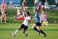 Kansas City, MO - Sunday September 3, 2017: Taylor Lytle, Maegan Kelly during a regular season National Women's Soccer League (NWSL) match between FC Kansas City and Sky Blue FC at Children's Mercy Victory Field.