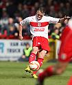 James Dunne of Stevenage fires in a free-kick. Stevenage v MK Dons - npower League 1 -  Lamex Stadium, Stevenage - 27th April, 2013. © Kevin Coleman 2013. ..