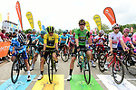 The jersey leaders line up for the start of Stage 7 of the Criterium du Dauphine 2019, running 133.5km from Saint-Genix-les-Villages to Les Sept Laux - Pipay, France. 15th June 2019.<br /> Picture: ASO/Alex Broadway | Cyclefile<br /> All photos usage must carry mandatory copyright credit (© Cyclefile | ASO/Alex Broadway)