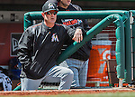 15 May 2016: Miami Marlins catching coach Brian Schneider watches play from the steps of the dugout during a game against the Washington Nationals at Nationals Park in Washington, DC. The Marlins defeated the Nationals 5-1 in the final game of their 4-game series.  Mandatory Credit: Ed Wolfstein Photo *** RAW (NEF) Image File Available ***