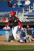 Batavia Muckdogs third baseman Javier Lopez (23) at bat during a game against the West Virginia Black Bears on August 21, 2016 at Dwyer Stadium in Batavia, New York.  West Virginia defeated Batavia 6-5. (Mike Janes/Four Seam Images)