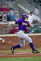 LSU Tigers designated hitter Sean McMullen (7) follows through on his swing against the Texas A&M Aggies in the NCAA Southeastern Conference baseball game on May 10, 2013 at Blue Bell Park in College Station, Texas. LSU defeated Texas A&M 7-4. (Andrew Woolley/Four Seam Images).