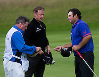 17.10.2014. The London Golf Club, Ash, England. The Volvo World Match Play Golf Championship.  Day 3 group stage matches.  Patrick Reed [USA] beat Jamie Donaldson (WAL).
