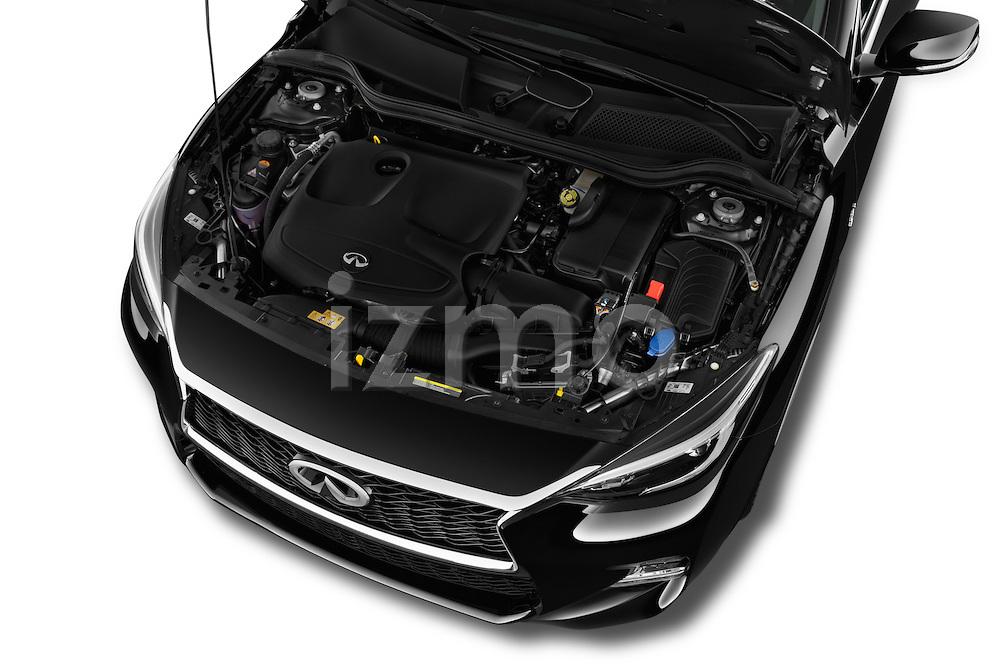 Car Stock 2017 Infiniti QX30 Sport 5 Door SUV Engine  high angle detail view