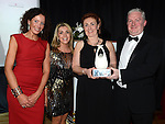 Eimhear Marron, Andrea Hermes and Grainne Berrill of Walk Peer Programme receive the Rotary Workforce Personel award from Steven Johnston representing sponsor State Street at the Business Excellence Awards in Earth Night Club at the Westcourt Hotel. Photo:Colin Bell/pressphotos.ie