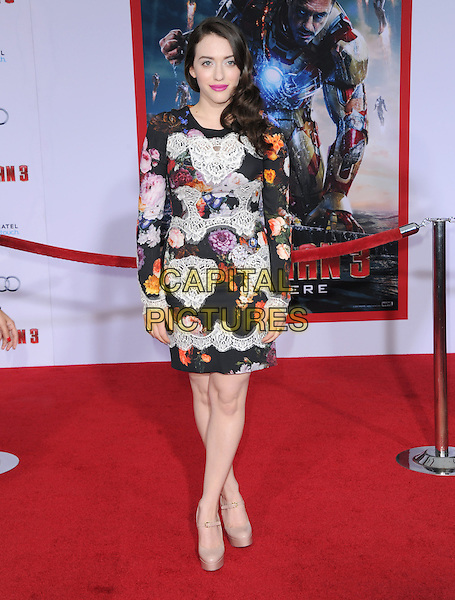 "Kat Dennings .""Iron Man 3"" World Premiere held at the El Capitan Theatre, Hollywood, California, USA.                                                  .April 24th, 2013.full length black white red orange floral print lace dress beige shoes platform.CAP/DVS.©DVS/Capital Pictures"