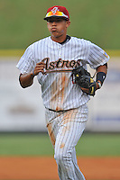 Greenville Astros shortstop Carlos Correa #12  during a game against the Burlington Royals at Pioneer Park on August 17, 2012 in Greenville, Tennessee. The Astros defeated the Royals 5-1. (Tony Farlow/Four Seam Images).