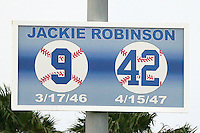 April 16, 2009: A sign in left field dedicated to Jackie Robinson at Jackie Robinson Stadium in Daytona Beach, FL.  Photo by:  Mike Janes/Four Seam Images